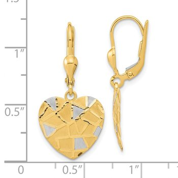 14k Rhodium-plated Textured Heart Leverback Earrings
