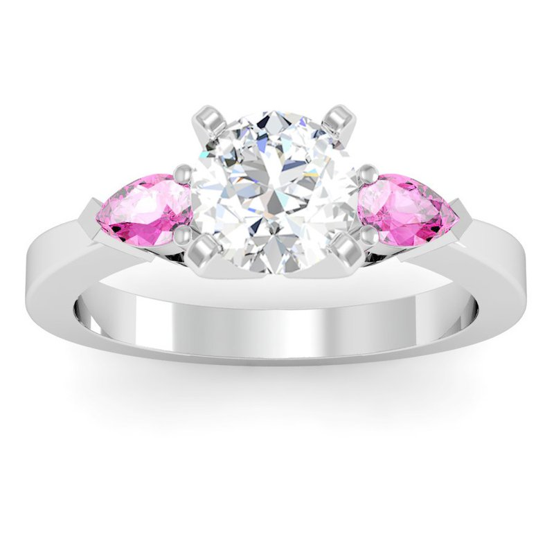 J.F. Kruse Signature Collection Classic Pear Shaped Pink Sapphire Engagement Ring