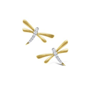 14k Gold and Diamond Mini Dragonfly Earrings