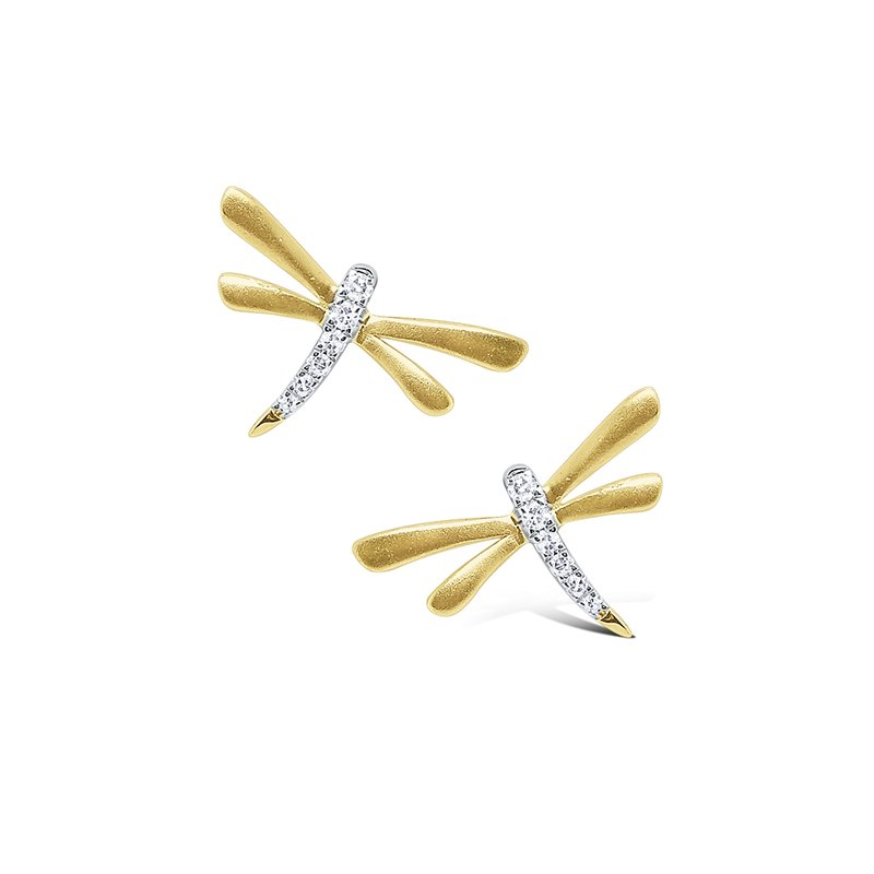 KC Designs 14k Gold and Diamond Mini Dragonfly Earrings