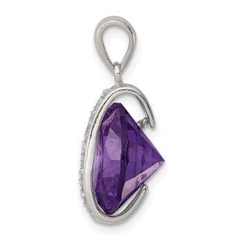 Sterling Silver Amethyst CZ Pendant