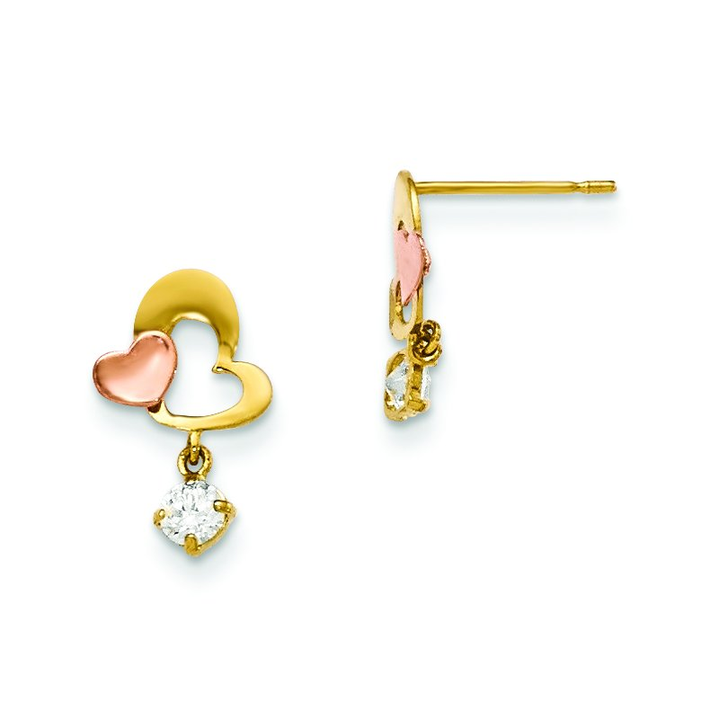 Quality Gold 14k Yellow & Rose Gold Madi K CZ Heart Dangle Post Earrings