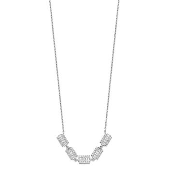 Sterling Silver Rhodium-plated Baguette CZ Bars w/ 1in ext. Necklace