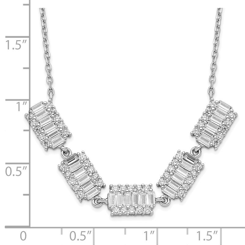 Quality Gold Sterling Silver Rhodium-plated Baguette CZ Bars w/ 1in ext. Necklace