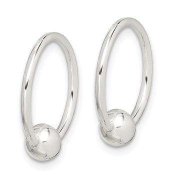 Sterling Silver Bead Endless Hoop Earrings