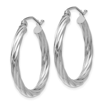 14k White Gold Polished 3.25mm Twisted Hoop Earrings