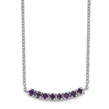 Sterling Silver Rhodium plated Amethyst Bar w/2in ext Necklace