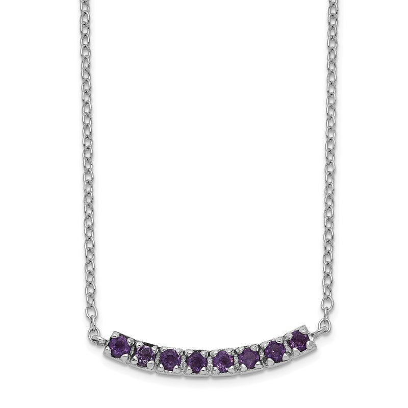 Arizona Diamond Center Collection Sterling Silver Rhodium plated Amethyst Bar w/2in ext Necklace