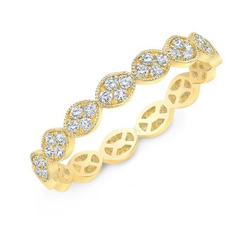Yellow Gold Milgrain Oval Pave Stackable Band