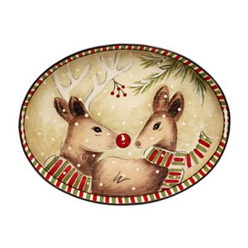 Oval Toleware Tray, Deer Friends