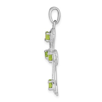 Sterling Silver Rhodium Peridot & Diamond Cross Pendant