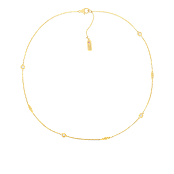 18Kt Gold Necklace With Alternating Diamond Stations