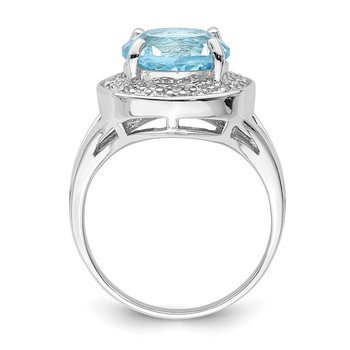 Sterling Silver Rhodium-plated 10mm Round Blue Topaz & CZ Ring