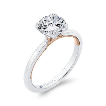 18K Two-Tone Gold Solitaire Engagement Ring (Semi-Mount)