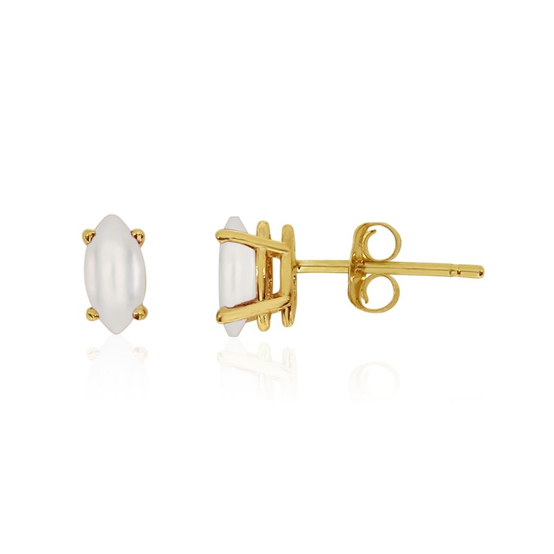 Color Merchants 14k Yellow Gold Freshwater Cultured Pearl Marquise Earrings