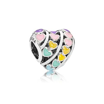 Multi-Colour Hearts Charm, Mixed Enamel