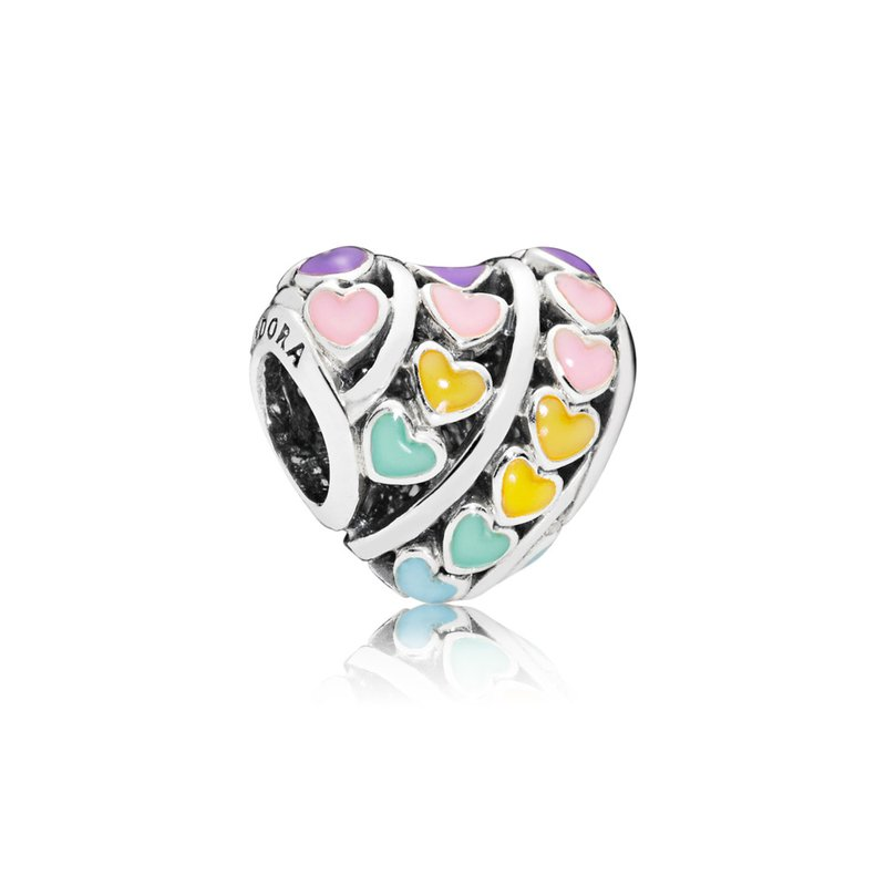 PANDORA Multi-Colour Hearts Charm, Mixed Enamel