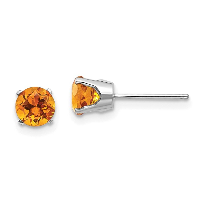 Quality Gold 14k White Gold 5mm Citrine Stud Earrings