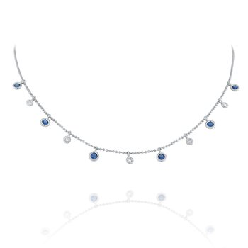 Diamond & Blue Sapphire Dew Drop Necklace Set in 14 Kt. Gold
