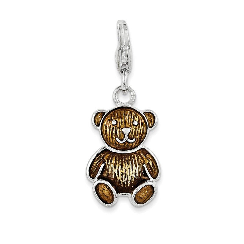 Fine Jewelry by JBD Sterling Silver RH w/Lobster Clasp Enameled Teddy Bear Charm