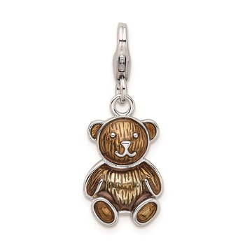 Sterling Silver Amore La Vita Rhodium-plated Enameled Teddy Bear Charm