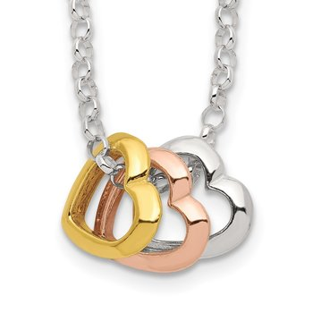 Sterling Silver and Vermeil Polished Fancy 3-Heart Necklace