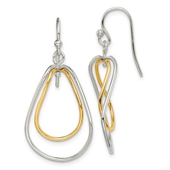 Sterling Silver Gold Tone Polished Dangle Earrings