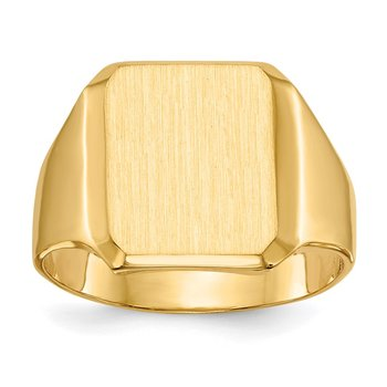 14k 15.0x12.5mm Closed Back Men's Signet Ring
