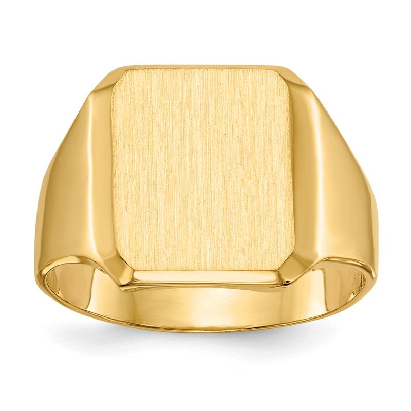 Quality Gold 14k 15.0x12.5mm Closed Back Men's Signet Ring