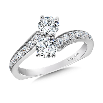 Two-Stone Diamond Engagement Ring Moutning in 14K White Gold (.97 ct. tw.)