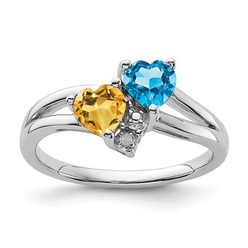 Sterling Silver Rhodium Blue Topaz & Citrine Diam. Ring
