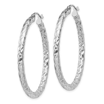 Sterling Silver Rhodium-plated Textured 3x40mm Hoop Earrings