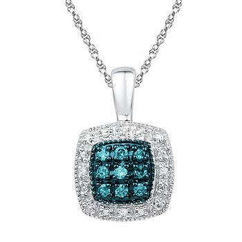 0.08 CTTW Silver with BLUE & WHITE Diamond Pendant