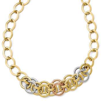 Leslie's 14k Tri-color Polished Fancy Link Necklace