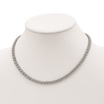 Sterling Silver CZ 17in Necklace