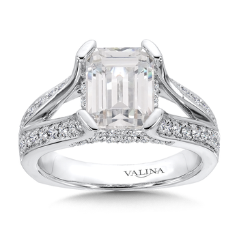 Emerald Cut Center Split Shank Engagement Ring in 14K White Gold (0.60 ct. tw)