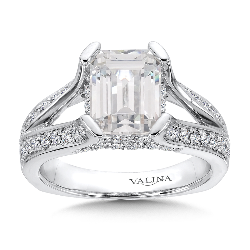 Valina Emerald Cut Center Split Shank Engagement Ring in 14K White Gold (0.60 ct. tw)