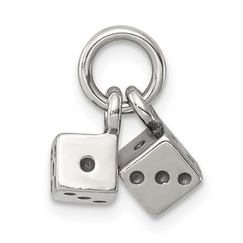 Sterling Silver Antique Dice Charm