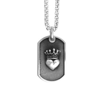 Small Crowned Heart Dog Tag Pendant