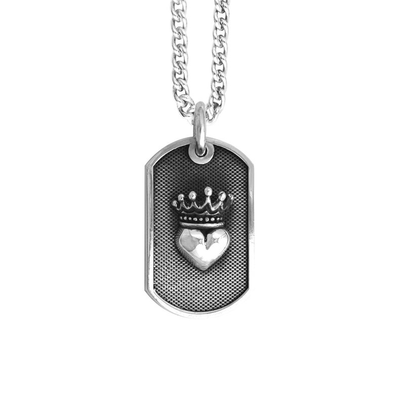 King Baby Small Crowned Heart Dog Tag Pendant