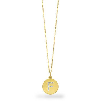 "Diamond Disc Initial ""F"" Necklace in 14k Yellow Gold with 12 Diamonds weighing .06ct tw."