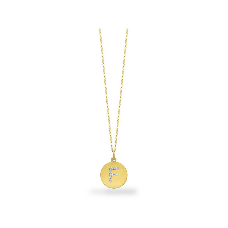 "KC Designs Diamond Disc Initial ""F"" Necklace in 14k Yellow Gold with 12 Diamonds weighing .06ct tw."