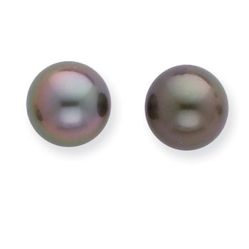 14k WG 8-9mm Black Round Saltwater Cultured Tahitian Pearl Post Earrings