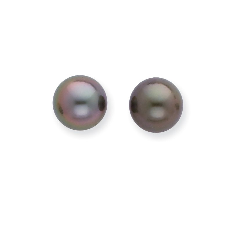 Quality Gold 14k WG 8-9mm Black Round Saltwater Cultured Tahitian Pearl Post Earrings
