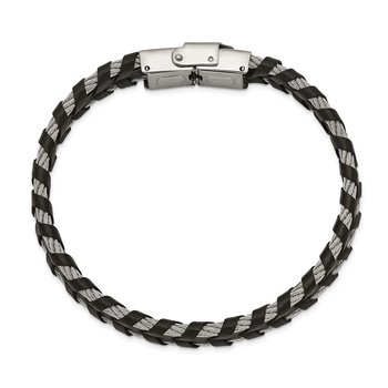 Stainless Steel Polished Cable and Braided Black Leather 8.25in Bracelet