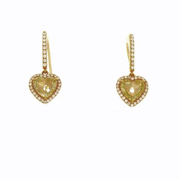 YELLOW ROSECUT HEART SHAPE DANGLES