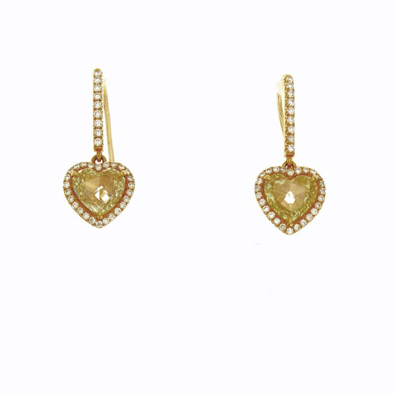 William Levine YELLOW ROSECUT HEART SHAPE DANGLES