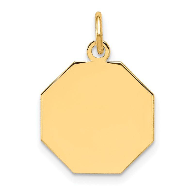 Quality Gold 14k Plain .027 Gauge Engravable Octagonal Disc Charm