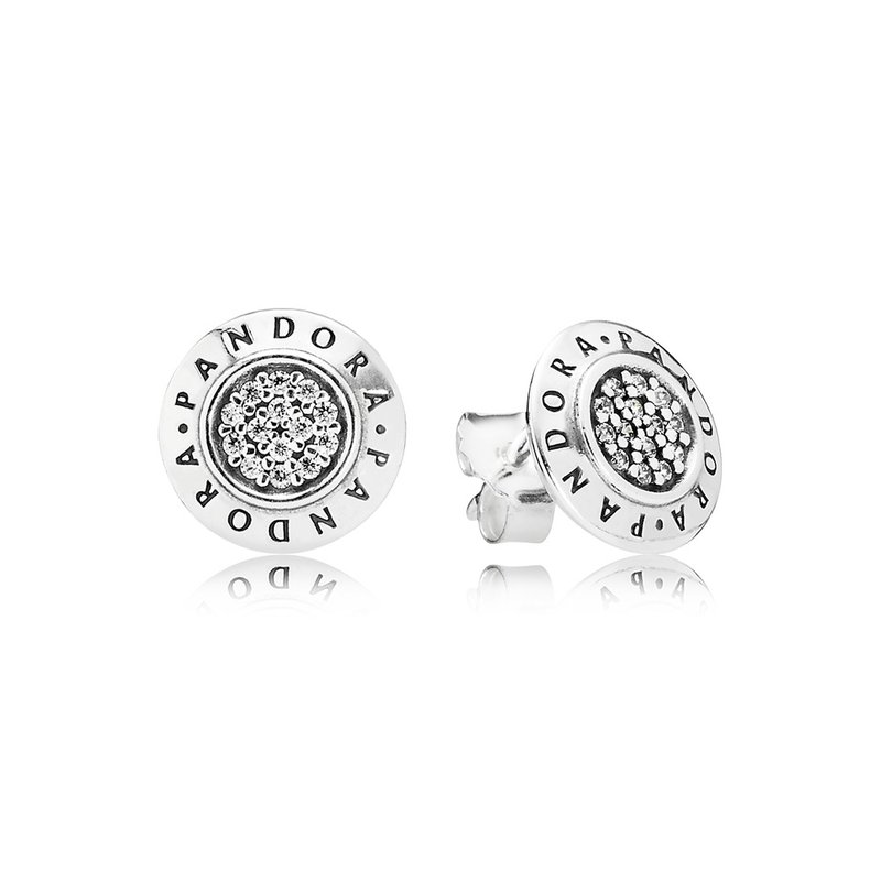 PANDORA Pandora Signature Stud Earrings, Clear Cz