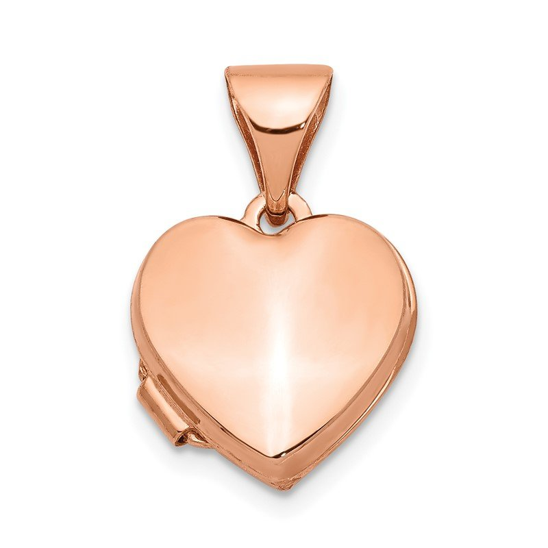 Quality Gold 14k Rose Gold 10mm Plain Heart Locket